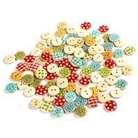 Wholesale 100Pcs Mixed Color mm Polka Dot Rustic Plaid Handmade Small Wooden Buttons