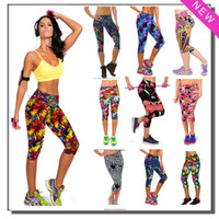 ladies casual wear - 2015 New Brand Capri Sports Leggings High Waist Floral Printing Pants Lady s Fitness Workout Casual Pants Gym Wear