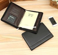leather notebook with calculator - 2015 Multifunction padfolio note book leather diary spiral notebook A5 Zipper bag organizer planner ring binder with calculator