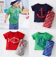 Cheap 1set=T-shirt+Pants Summer Kids Cotton Fish Outfits Sets Children Clothes New Baby Boys Stripe Suits Kids Sailboat Sets D298