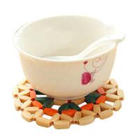 bamboo placemats - Rectangular Round Bamboo Insulation pad Placemats Insulation pads Bowls mat Coasters