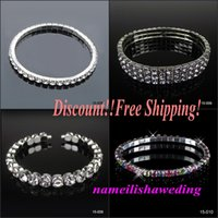 accessories discount - Discount Cheap Row Rhinestone Bridal Jewelry Sets Bling Silver plated Stretch Bangle Bridesmaid Bracelet Wedding Accessories Body Chain