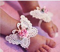al por mayor baby foot flower-3 PCS 1 Conjunto infantil de la mariposa del bebé 10pair tocado de la venda del pie descalzo del niño de la flor de la venta CALIENTE