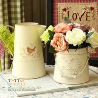 Wholesale 2 Types Available Fashion Vintage Retro Iron Tub For Home Table Decoration Flower Vase Pot Wedding Decoration European Style