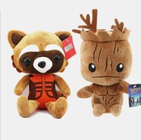 al por mayor mapache de peluche-100pcs Guardianes de las muñecas de la felpa del animal relleno del mapache de Groot Rocket de la gente del árbol de la galaxia para los niños el ccsme libera