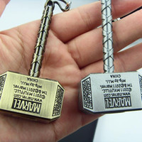 Wholesale Movie Jewelry Color Thor HAMMER Keychain Marvel The Avengers Mjolnir Figure Pendant Metal Keychain