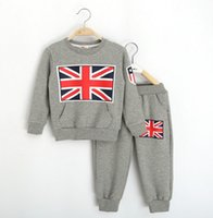 sport flags - 2015 Spring Boys Girls Cotton UK Flag Long Sleeve T shirt Pants PC Sets Leisure Sporting Outfits Kids Clothing Blue Gray Brown Red K3059