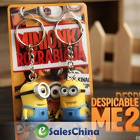 Wholesale sets pvc Cartoon Key Chain Despicable Me D Eye Small Minions Figure Kid toy Keychain