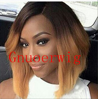 Mix Color sexy wig - Unprocessed ombre color brown and blonde sexy short syntheic hair high temperature silk full wig for black women