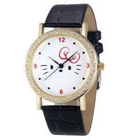 auto wholsale - Attractive High quality Fashion Women Diamond Cat Analog Leather Quartz Wrist Watch Watches Wholsale SP10