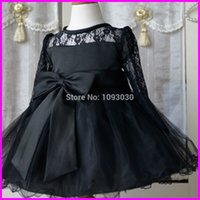 Cheap New Arrival Hot Black Sashes Bow Long Sleeve Flower Girl Dresses Knee Length Girls Pageant Dress 2015 Made in China FLG106