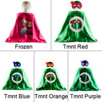 Wholesale L70 W70CM Double Side Frozen Superman Cape Mask Reversible Superhero Cape Supergirl Cape Mask Set New Hot Sale Mask Capes Set