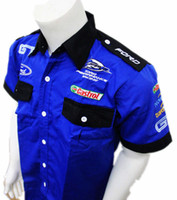 auto drivers - Original summer men F1 auto driver shirt cotton Motorcycle work overalls motorbike car smock suit F1 shirt for ford