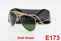 alloy box - 1Pair Excellent Quality Men Male Designer Pilot Sunglasses Outdoorsman Sun Glasses Eyewear Gold Golden Green mm Glass Lenses With Box Case