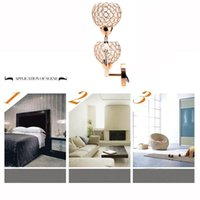 Wholesale New Hot Golden Crystal Wall Lamp Shade E14 Double Bases Bedside Bedroom Stair Light Cover Indoor Decorative Lighting Stylish