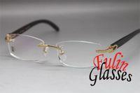 Unisex designer eyeglasses - designer eyeglasses frame Hot Rimless Genuine horn Unisex Eyeglasses Black Buffalo Eyewear