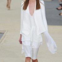 Cheap Fashion Suit Women Star with Cotton Blend Long Sleeve Back Split Bandage Slim Elegant Wild Office Business Lady Plus Size White Blazers DHL