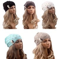 Wholesale New Arrivals Women Lady Skull Caps Beanie Hats Woolen Blend Knit Oversized Baggy Winter Ski Circumference CM EA20