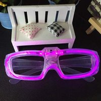 Wholesale LED Flashing Light Up Eye Glasses Party Favors Color Blue Green Pink