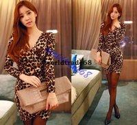 leopard print mini dress - Fashion Leopard print dresses deep v neck full sleeves sheath casual mini dress summer wear print dress
