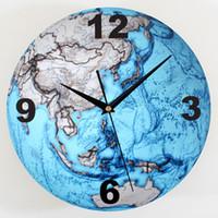 Moda azul del planeta grande del arte del reloj de pared de cuarzo decoración del hogar silencioso creativo V97 Mapa mural del reloj de pared de la sala del reloj