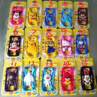 Wholesale 3D cartoon Universal Silicone Bumper Frame lovely Minions stitch Case Mickey Bear Monster border cases for iPhone s plus Samsung s6 hot