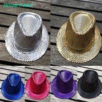 Wholesale Women Men Christmas Jazz Hats Fedoras Magic Show Sequin Hat Christmas Decorations Colors