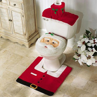 toilet seat covers - 3PCs Christmas Decorations Santa Toilet Seat Cover and Rug Set Bathroom Set