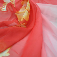 Wholesale Printed chiffon big red gradient positioning spring and summer clothing fabrics