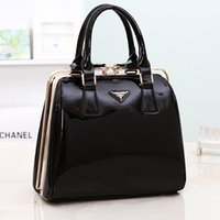 clip handbag - 2014 Korean version of the new Korean fashion brand bags patent leather handbag stereotypes steel clip laptop bag lady
