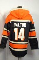 Wholesale Andy Dalton Football Hoodies Orange Pullover Hoodie Men Football Jacket Winter Warm Outdoor Sports Hoodies Cheap Football Hoodies