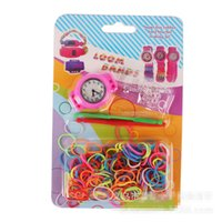 Cheap loom bands kits watch colorful rubber band watches children's educational DIY rainbow knit watch factory wholesale silicone DIY toys