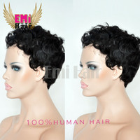 black women wigs - 2016 hot sale Full Lace Human Hair Wigs None Lace Short Glueless Bob Brazilian Short Curly hair Wig Short Lace Front Wigs For Black Women