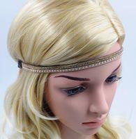 Wholesale Girl Women Rhinestone Hairband with Elastic Handmade High Quality Fashion Imitation Leather Hair Accessories Hair Jewellery for