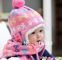 knitting fur scarf - Sweet Baby Cap Scarf Set For Girls Winter Warm Hats Scarf Sets Kids Winter Accessories Knitting Fur Warm Ears Caps