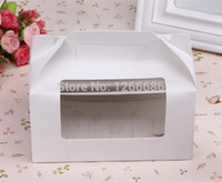 cheese cutter - 200pcs white paper cupcake cups muffin cheese cake box portable handle boxes