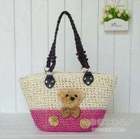 Wholesale Summer Straw Tote Bag Beach Bag Cartoon Bear Style New Arrival B6