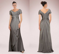 Mother's Dresses adorn purple - Elegant Chiffon A line Mother of Bride Dresses Short Sleeves Adorned with Beaded Exquisite Pleats Floor Length Wedding Party Formal Gowns