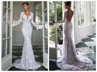 alexis garden - Mermaid Wedding Dresses Lace Ivory Illusion Long Sleeve Backless Sweep Train Fashion Bridal Dress Julie Vino Alexis New Arrival
