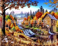autumn nature pictures - Mill in Autumn Nature diy diamond painting x40cm diamond square rhinestone handcraft picture full not finished