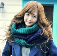 Wholesale Korean Version Of The Fall And Winter Classic Mixed colors hit color collar hedging Color wool scarves Women Clothing Accessories