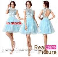 Wholesale 2015 Tulle Graduation Dresses Short Prom Sheer Crystal Beads High Neck Open Back A Line Knee Length Homecoming Cocktail Party Stock SD199