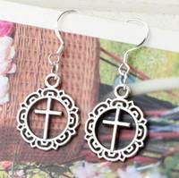 antique celtic cross - 16 x37 mm Antique Silver Open Flower Circle Cross Charm Pendant Earrings Silver Fish Ear Hook Jewelry E495