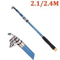2.1M / 2.4M portable de la pesca de fibra de carbono barra telescópica de los trastos Mar del viaje pesca con mosca de trole de giro Rod de los trastos azul Herramienta