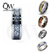 Wholesale Hot Sales Style mm Unique Silver Rose gold Gold Celtic Dragon Men s Women s Tungsten Carbide Ring Wedding Band Jewelry