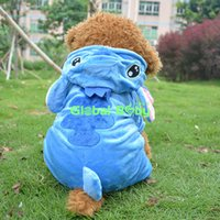 Wholesale Adorable New Brand Blue Stitch Design Pet Dog Coat Soft Cotton Warm Puppy Dog Jumpsuit Hoodie Clothes