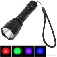 Wholesale 3 Modes Flashlight with Green Red Purple Blue Light Colors Optional LEF_2C5