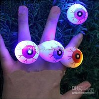 Wholesale Halloween Birthday Prom LED Cheer Light Up Eye Ring Gift Toys Blinking Rings For Kids and Adults Party Supplies