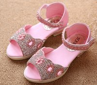 Wholesale 2015 latest Children s sandals for girls sandals open toed Rhinestone pearl brand princess sandals size US10 US ETDX26