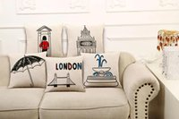 ben bridge - Back Cushion Pillow Case Cover Printed London Style Big Ben Tower Bridge Cotton Linen Hold Pillow Cover